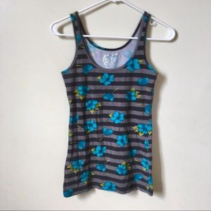 Rue21 Striped with Blue Flowers Tank Top